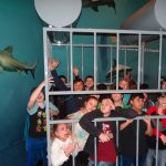 OK Aquarium Shark Cage—Porum GEAR UP students pose in the shark cage at the OK Aquarium; Front row: Emma Murray, Ashlynn Anderson, Taber Sangster, Jordan Anderson and Jett Henson  Middle row: Eric Chapin, Blake Catron, Jace Shipley, Austin McCarter and Krystina Anderson   Back row: Rawley Killingsworth, Luke Spradlin and Bryson Armstrong