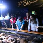 OK Aquarium Turtles—Students look at the Turtles while visiting the OK Aquarium; Left to right: GEAR UP Education Coordinator Rachael Ranallo, Rawley Killingsworth, Jett Henson, Brayden Catron, Corby Mutart, Jacie Montgomery, Tyler Taylor and Blake Catron
