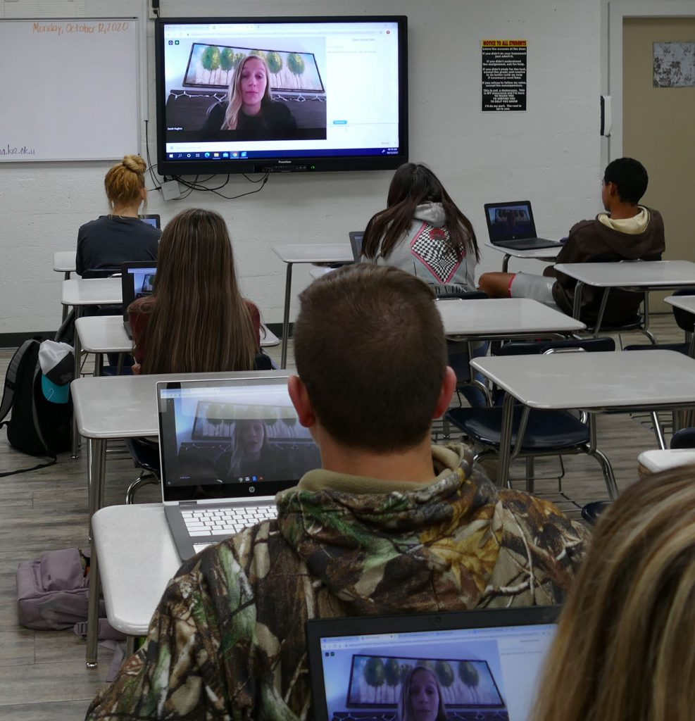 Savanna freshman and sophomore GEAR UP students listen intently while Southeastern Oklahoma State University admissions recruiter, Sarah Hughes conducts a virtual college tour.