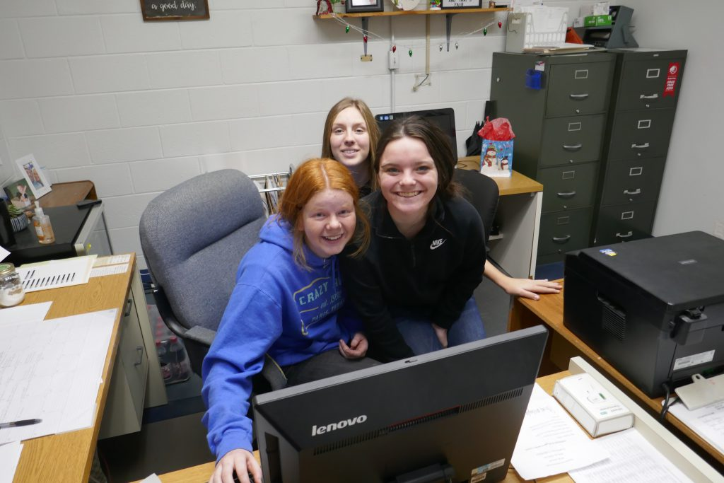 Rattan GEAR UP students participated in a virtual tour of the University of Texas, Austin. Pictured are (left to right) Cassidy Mack, Cailin Jamison and Courtney Reese.